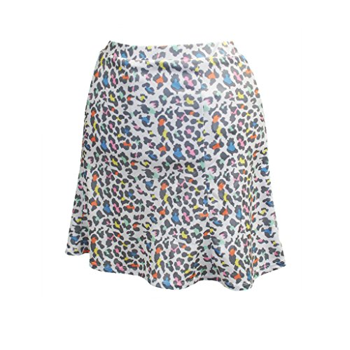 - Monterey Club Ladies Dry Swing Mini Leopard Pull on Skort #2926 (White/Rose Quartz, Large)