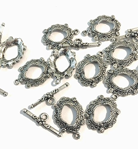 Tibetan Antique Silver (Platinum/Rhodium) 25mm Toggle Bar Clasps, Picture Frame Style TEN (10) Sets (Brass Toggle Bar)