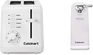 Cuisinart CPT-122 2-Slice Compact Plastic Toaster (White) & CCO-50N Deluxe Electric Can Opener, White