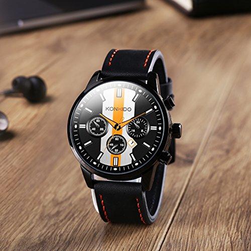 KONXIDO Mens Sports Watches Military Waterproof Big Face Analog Leather Band Wrist Watch Orange by KONXIDO (Image #2)