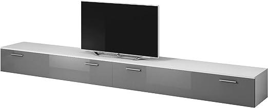 E-com Mueble para TV Boston, Color Blanco Mate y Gris Brillante ...