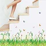 Green Grass Meadow Wall Art Stickers Red Flowers Butterflies Colourful Removable DIY Vinyl Wall Decals Multicoloured Decorative Mural Living Room, Bedroom, Baseboard