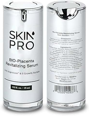 SkinPro BIO-Placenta Revitalizing Serum (Medical Grade) with Epidermal Growth Factor & Argireline for Anti Aging