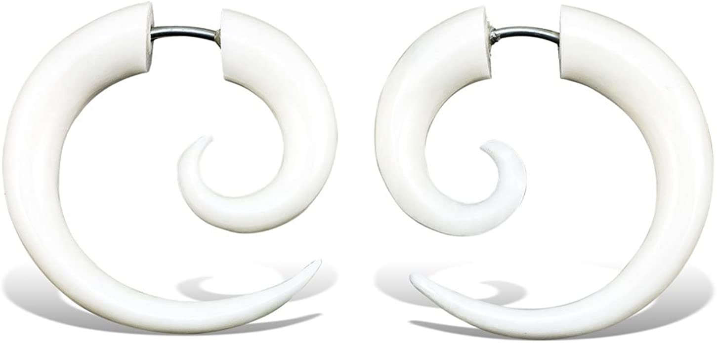 Amazon Com Fake Gauge Earrings Hand Carved Bone Small Spirals Jewelry