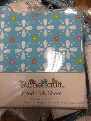2 for $9.99 Fitted Crib Sheet in LIGHT BLUE MULTI BIRDIE PATCH MB08 100% Cotton by Sumersault
