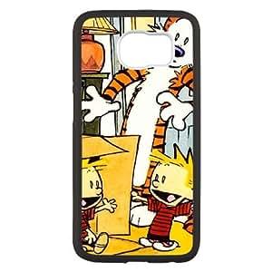caso de Calvin y Hobbes W6X22G4LF funda Samsung Galaxy S6 funda 0265W0 negro