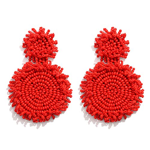 - LPON Statement Drop Earrings Double Round Disk Seed Bead Stud Earrings Bohemian Beaded Round Earring for Women Girls (E-red)