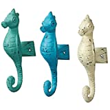 Ocean Animals Blue White Teal Seahorses Single Wall Hooks Cast Iron Set of 3