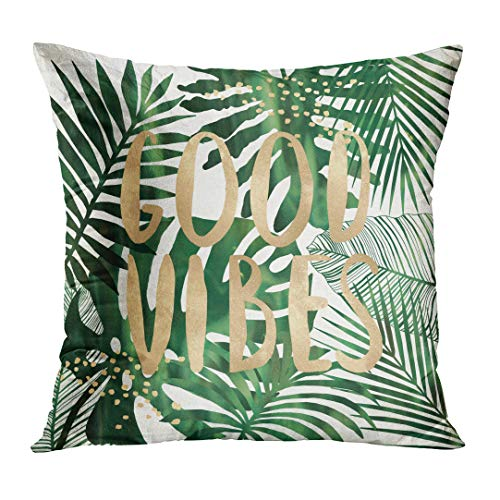 TOMKEYS Throw Pillow Cover Green Beach Good Vibes with Tropical Leaves Wall Collage White Typo Fun Decorative Pillow Case Home Decor Square 18x18 Inches ()