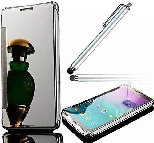 """For iPhone X / iPhone 10 5.8"""" Case,Vandot 2in1 Flip Folio Stand [Metal Electroplating Technology] Aluminum PC Case Full-body Protective Shell Slim Thin Mirror Cover-SILVER+ Screen Stylus Touch Pen"""