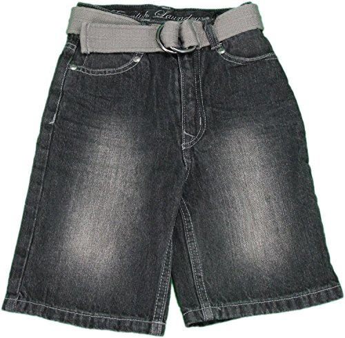Size 4 Belted Cotton Denim Shorts, Black Denim (Boys Black Belted Jean Shorts)