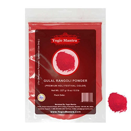 Yogic Mantra Gulal Holi Color Powder (227 g / 8 oz Resealable Pouch) Rangoli Festival Color For Hindu Puja Religious Ceremony Parties Gender Reveal Games Photo Shoots Home Pooja Events (Pooja Home Decor)