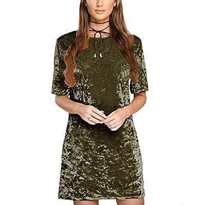 R.Vivimos Women's Summer Short Sleeve Crushed Velvet Mini Short Dresses at Women's Clothing store