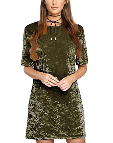 R.Vivimos Women Summer Short Sleeve Crushed Velvet Mini Short Dresses