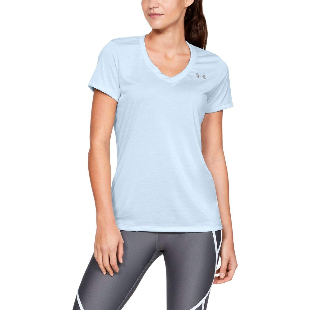 Under Armour womens Tech V-Neck Twist Short Sleeve T-Shirt, Blue (451)/Metallic Silver, X-Small by Under Armour