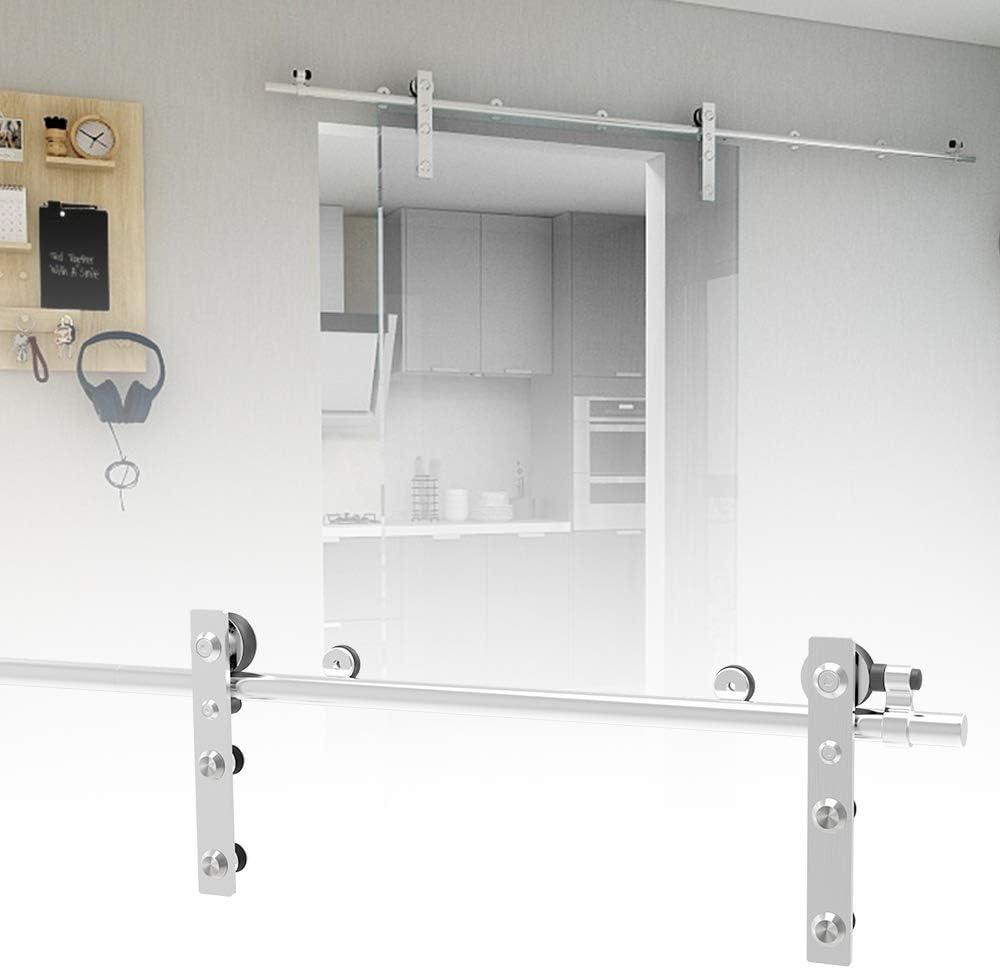 183CM/6FT Herraje para Puerta Corredera Acero Inoxidable Kit de Accesorios, Guia Riel Puertas Correderas, Para puertas de cristal