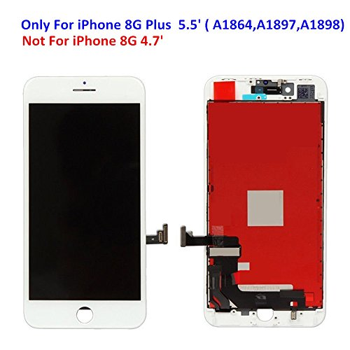 Premium Screen Replacement For iPhone 8 Plus (5.5 inch) - 3D Touch LCD Complete Repair Kits -LCD Touch Digitizer Display Glass Replacement With Tempered Glass, Tools, Instruction (White) by DIYRepair (Image #1)
