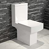 Modern Square Ceramic WC Toilet Close Coupled White Bathroom Cistern Pan + Seat