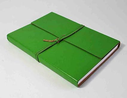 Diario de cuero, cubierta verde, cierre de corbata, 8.25 x 6, piel ...