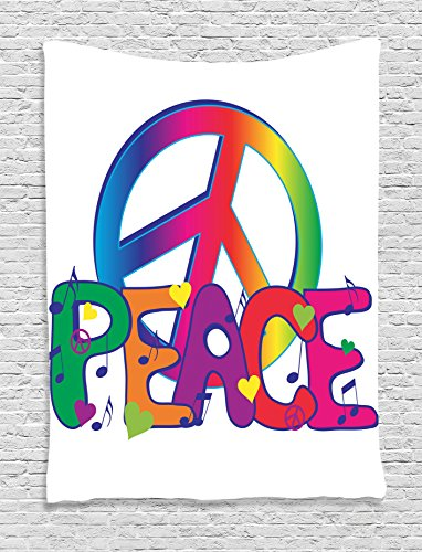 Ambesonne Groovy Decorations Collection, Peace Text and Sign