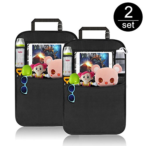 Back Seat Entertainment Organizer - Car Back Seat Protector, Komake Waterproof Seat Back Cover Organizer Auto Kick Mats with 4 Large Pocket Storage, Toys Tablet Holder for Children Kids Cartoon Movies Journey(2 Pack)