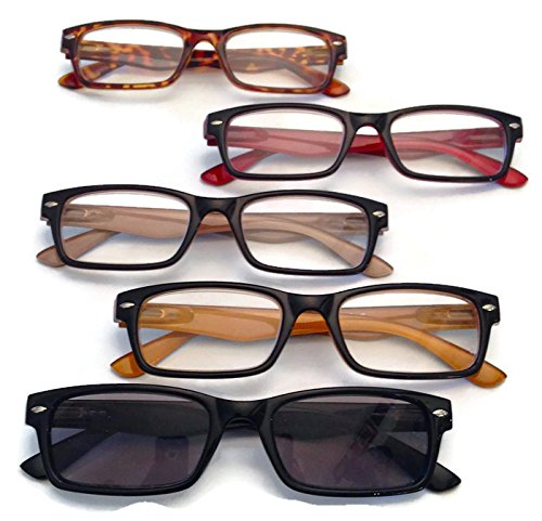 Prescription Reading Glasses, 5 pairs (multicolored, +1.25)
