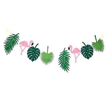 Buy MagiDeal Fabric Felt Large Tropical Leaves Flamingo Bunting ...