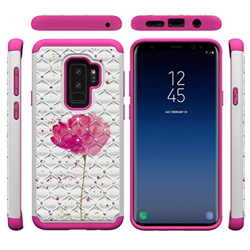 (Galaxy S9 Plus Case,Durable 2 in 1 Hybrid Case Back Cover Hard PC Shell with Creative Pattern & Point Drill Inner Soft TPU Bumper Impact Resistant Case Compatible with Samsung Galaxy S9 Plus -Flower)