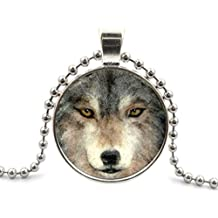 Segard Glass Cabochon Pendant Necklace Chain Huge Wolf Jewelry Fashion Glass Round Dome Silver Steampunk Jewelry Gifts for Women Men Girls Boys Father Mother