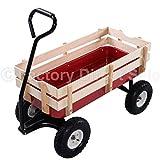 Outdoor Wagon ALL Terrain Pulling Children Kid Garden Cart w/ Wood Railing Red
