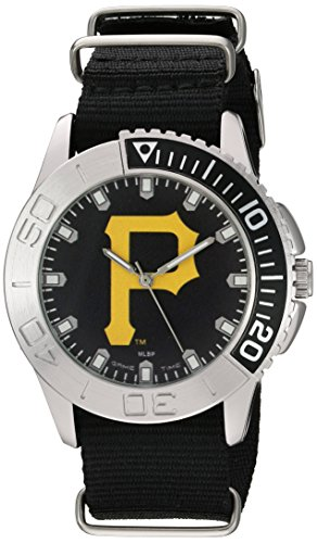 (Game Time Men's 'Starter'  Metal and Nylon Quartz Analog  Watch, Color:Black (Model: MLB-STA-PIT2) )
