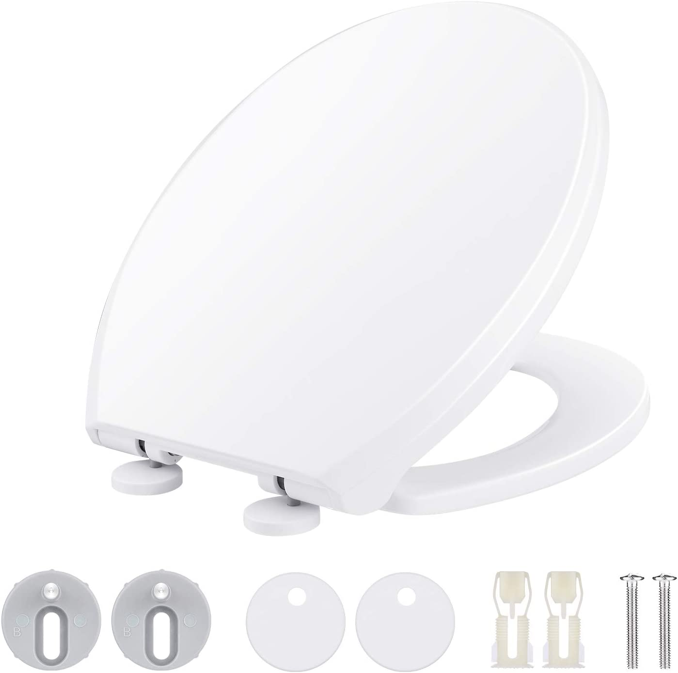 ZENO Soft Close Toilet Seat Simple Bottom Fixing Heavy Duty UF Material Anti-Bacterial Toilet Seats White with Adjustable Plastic Fixings Oval Round Shape Toilet Lid Loo Seat