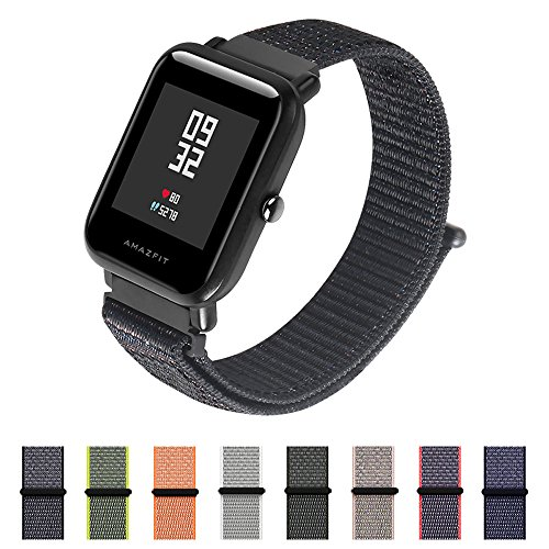 Price comparison product image Nylon Sport Loop Band SIKAI 20mm Replacement Nylon Strap For Amazfit Bip / Huawei Watch 2 / Ticwatch 2 / Fossil Q Gazer Breathable with Hook and Loop Fastener Adjustable Velcro Closure (Black, 20mm)