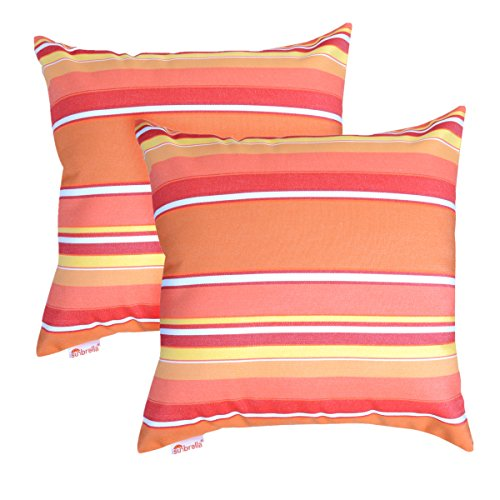 TOCO Sunbrella Pillowscase Indoor/Outdoor Decorative Throw Pillow Cover 20x20 inch, Set of 2 (Stripe Dolce Mango)