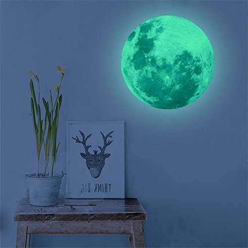 WOCACHI Wall Stickers Decals 40cm 3D Large Moon Fluorescent Wall Sticker Removable Glow in The Dark Sticker Art Mural Wallpaper Peel & Stick Removable Room Decoration Nursery Decor