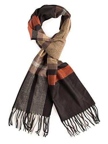 (Plum Feathers Super Soft Luxurious Cashmere Feel Winter Scarf (Black-Orange Plaid))