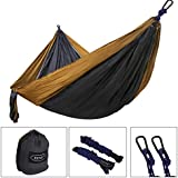 ZENY Portable Lightweight Double Nylon Parachute Camping Hammock Gear For The Outdoors Backpacking Survival Travel (Khaki/Grey)