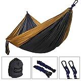 ZENY 118'' L x 78'' W Double Camping Hammock Portable Parachute Nylon Hammock w/Hammock Tree Straps, 2 Carabiner Backpacking, Camping, Travel, Beach, Yard
