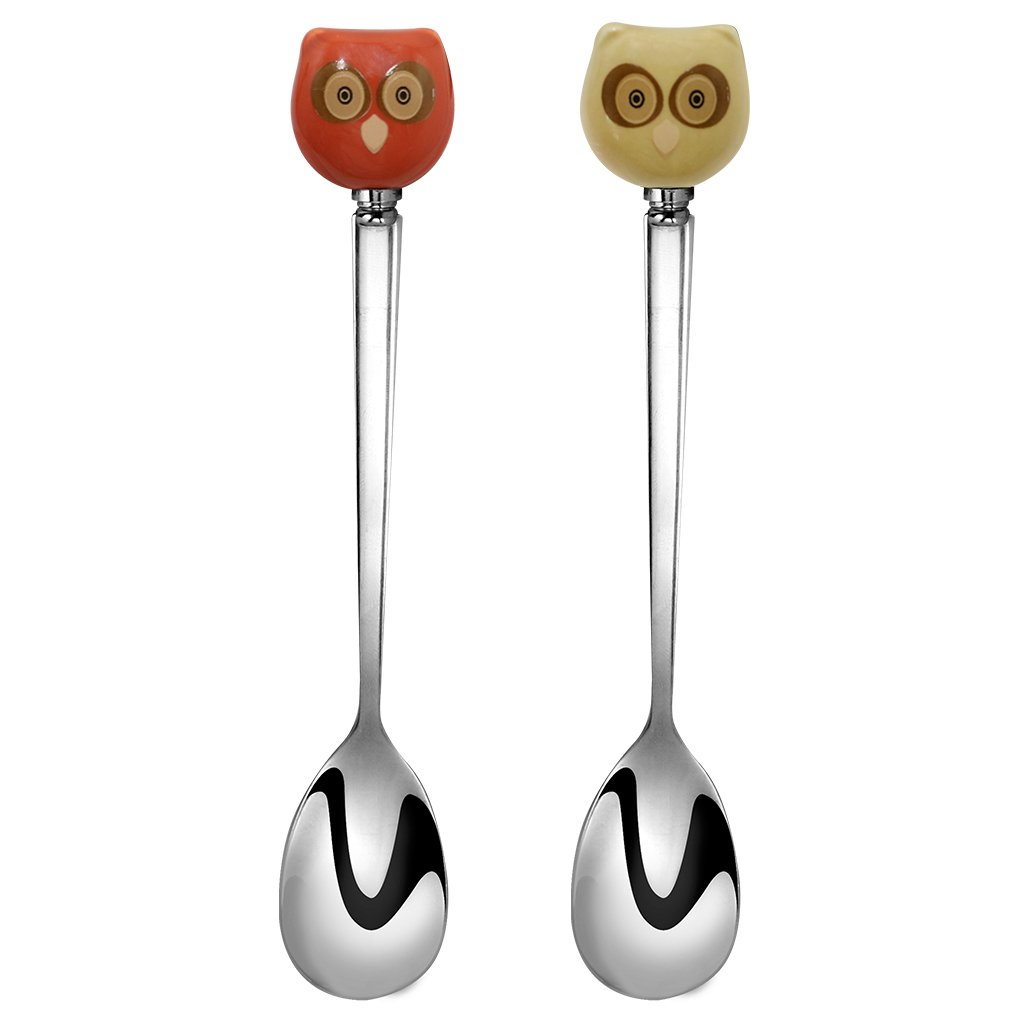 Sqowl Cute Little Stainless Steel Ceramic Owl Coffee Spoon Small Tea Spoons Set for Owl Lovers Red and Yellow