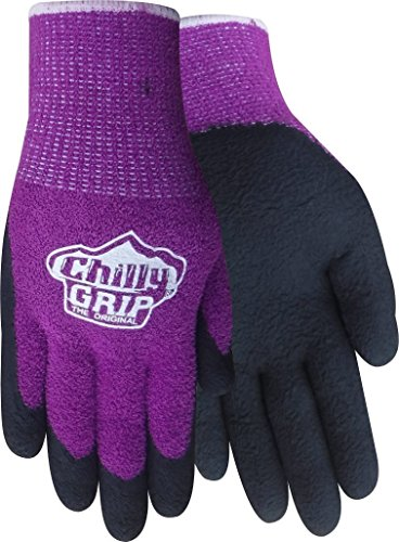 Red Steer A310, Chilly Grip Women's Chenille Glove, Textured Foam Rubber Palm, Thermal Knit Liner, Purple and Black, Medium, 3 - Grip Chilly