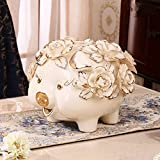 Piggy bank ceramic deposit pot adult creative piggy bank coin cute animal child deposit pot-A 27x27x24cm(11x11x9inch)
