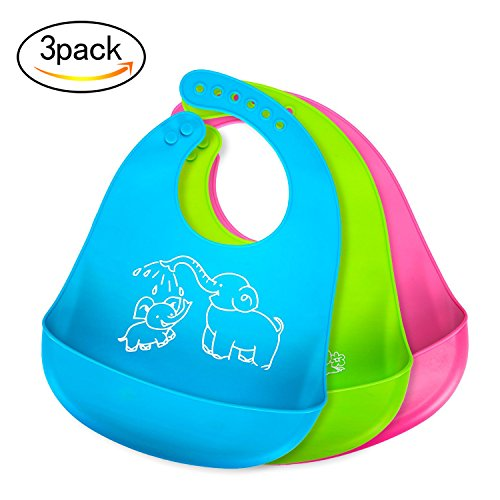 Bonim Baby Bibs Waterproof Silicone Bib – Comfortable and Adjustable Soft Feeding Bibs for Infants & Toddlers (6-72Months) Easy to Clean, Dry, Portable and Keep Stains Off! Set of 3 Colors
