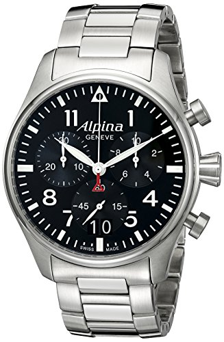 Alpina Men's AL-372B4S6B Startimer Pilot Chronograph Big Date Analog Display Swiss Quartz Silver-Tone Watch