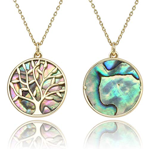 BOUTIQUELOVIN Abalone Shell Tree of Life Reversible Round Circle Pendant Necklace Gifts for Thanksgiving Christmas