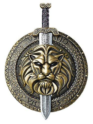 California Costumes Men's Gladiator Combat Shield & Sword Costume Accessory, Gold/Silver One Size]()