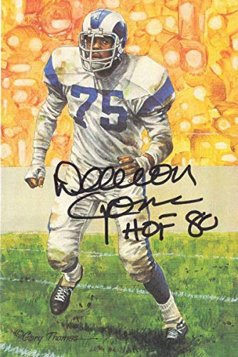 Deacon Jones Autographed Los Angeles Rams Goal Line Art Card Black HOF 11877 - NFL Autographed Football Cards ()