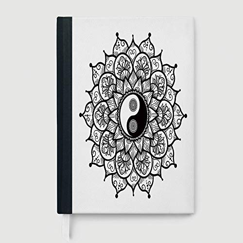 Hardcover Executive Notebook,Ying Yang,Notepad Student Award Gift Decorative Notebooks,Retro Floral Yin Yang Design with Mandala Patterns Paisley Leaves Petals Boho,96 sheets/192 pages,A5/8.24x5.73 i ()