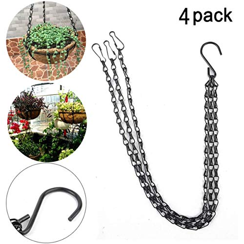 YINUOWEI 23.6 Inch Hanging Flower Basket Galvanized Replacement Chain Flowerpot Iron Sling Chain 3 Point Garden Plant Hanger for Indoor/Outdoor, Set of 4 (Black(23.6In))