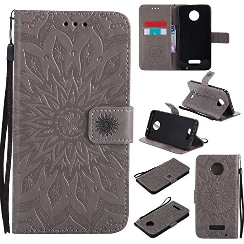Price comparison product image Moto Z Force Wallet Case, A-slim(TM) Beauty Fashion Sun Pattern Embossed PU Leather Magnetic Flip Cover Card Holders & Hand Strap Wallet Purse Cover Case for Motorola Moto Z Force - Gray