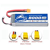 YoWoo 3S 11.1V Lipo Battery 8000mah 35C-70C(XT60/Deans T) For RC Traxxas Car Drone Helicopter Airplane Car Boat UAV FPV(6.61x2.32x1.04in,1.23lb)